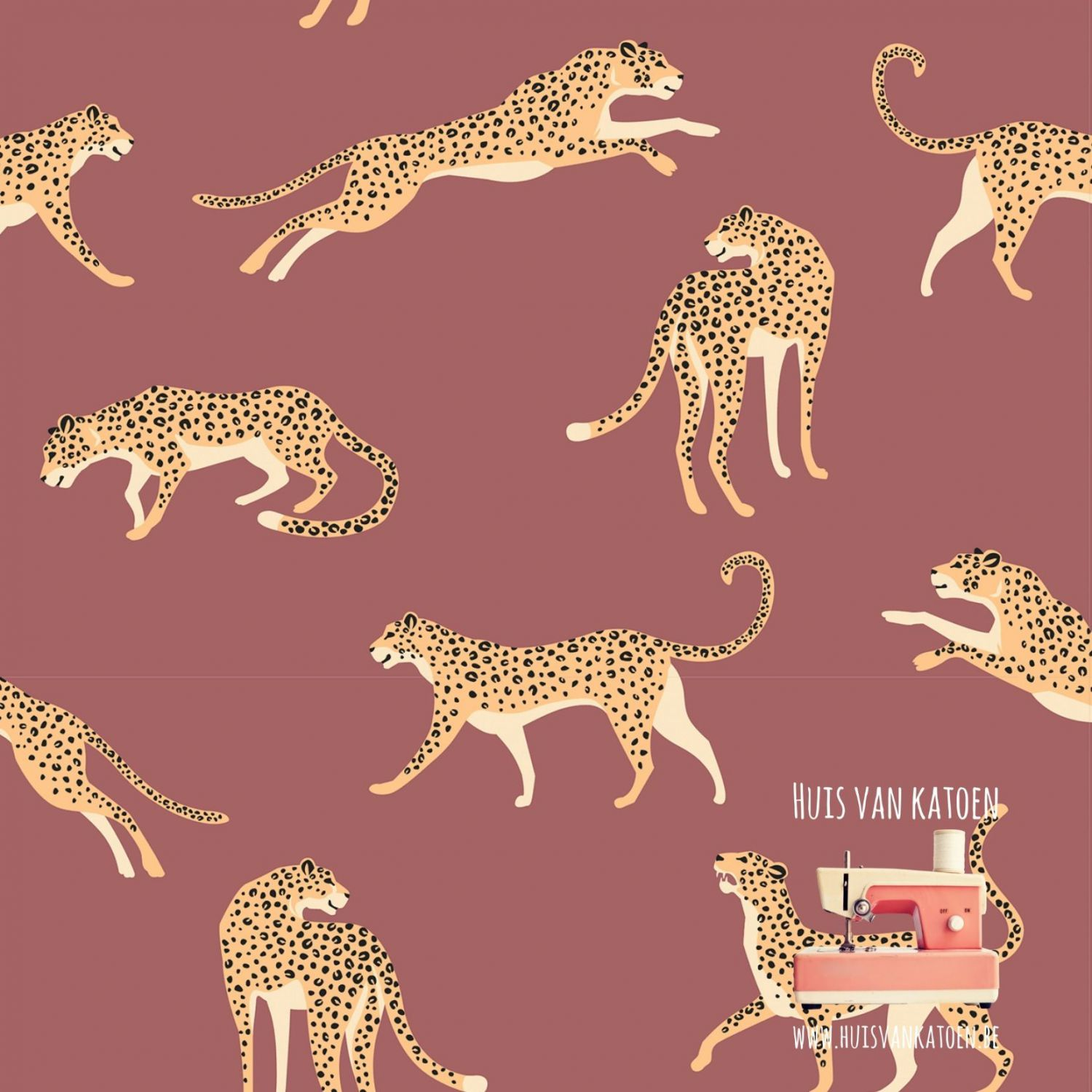 Jersey - Leopard old pink